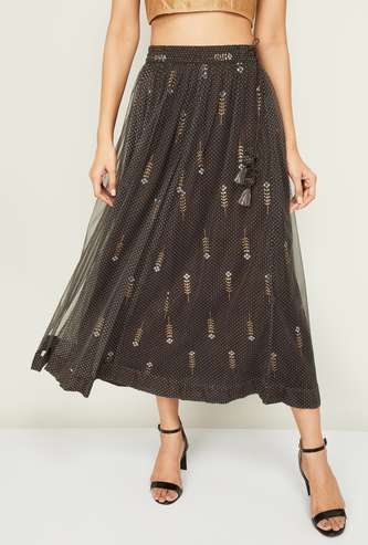 MELANGE Women Textured Maxi Skirt