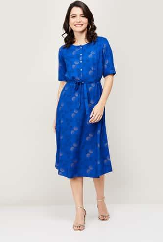 COLOUR ME Women Printed Round Neck A-line Dress