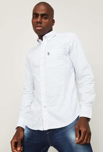 U.S. POLO ASSN. Men Printed Spread Collar Casual Shirt