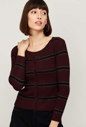 CODE Women Striped Cardigan