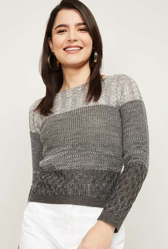 CODE Women Colorblocked Round Neck Sweater