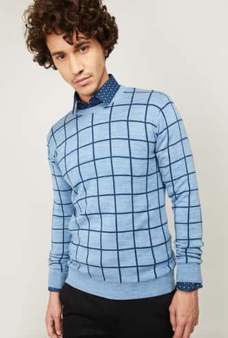 CODE Men Checked Full Sleeves Sweater