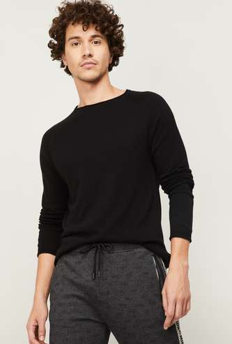 BOSSINI Men Solid Round Neck Sweater