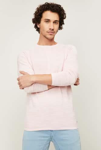 BOSSINI Men Textured Full Sleeves Sweater