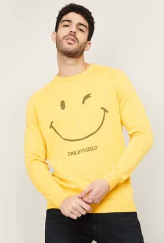 SMILEY Men Printed Crew Neck Sweater