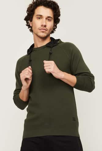 BOSSINI Men Textured Hooded Sweatshirt