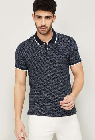FAME FOREVER Men Printed Regular Fit Polo T-shirt