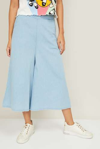 GINGER Women Solid Elasticated Waist Culottes
