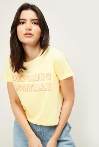 GINGER Women Printed Round Neck T-shirt