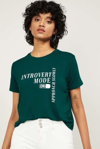 GINGER Women Printed Tie-Up Hem T-shirt