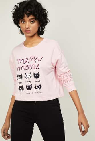 GINGER Women Printed Round Neck Crop Sweatshirt