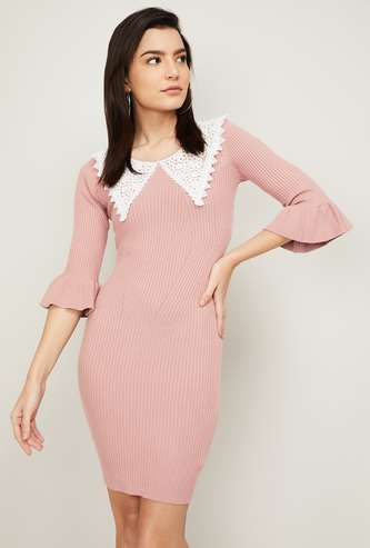GINGER Women Textured Peterpan Collar Bodycon Dress