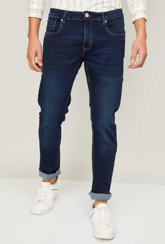 DENIMIZE Men Stonewashed Distressed Jeans
