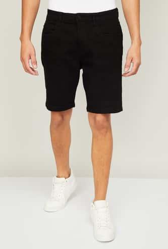 DENIMIZE Men Solid Denim Shorts