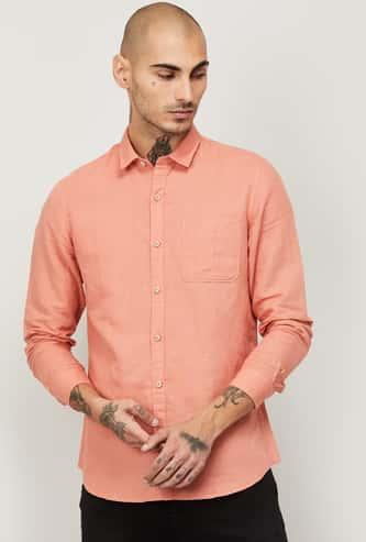 LEE Men Solid Slim Fit Casual Shirt