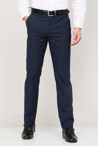 CODE Men Textured Regular Fit Formal Trousers