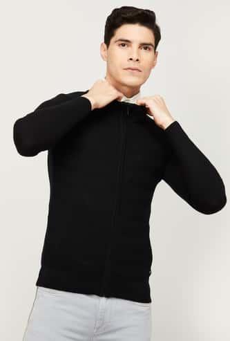 CODE Men Solid Full Sleeves Sweater