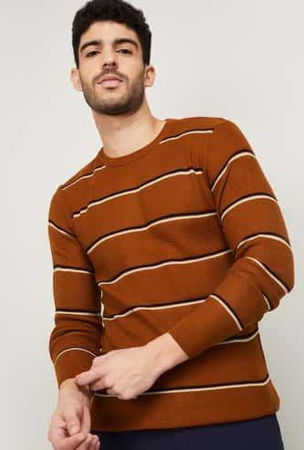 CODE Men Striped Round Neck Sweater