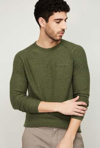 CODE Men Solid Crew Neck Sweater