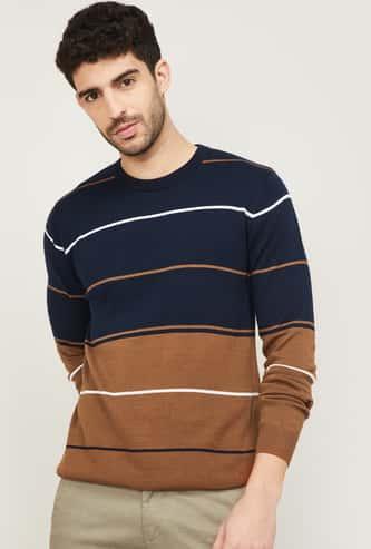 CODE Men Striped Crew Neck Sweatshirt