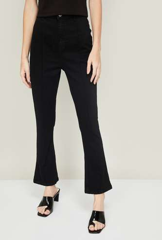 GINGER Women Solid Flared Jeans
