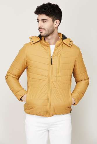 FLYING MACHINE Men Solid Hooded Puffer Jacket