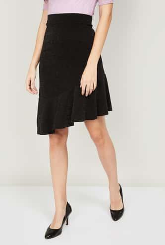 CODE Women Textured Asymmetric Hem Skirt
