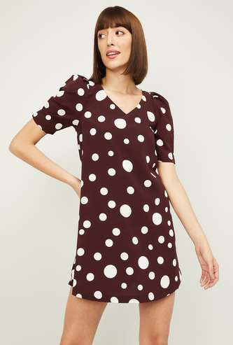 GINGER Women Polka Dot Print Puffed Sleeves Shift Dress