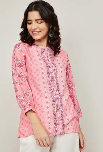 GLOBAL DESI Women Printed Puffed Sleeves Top
