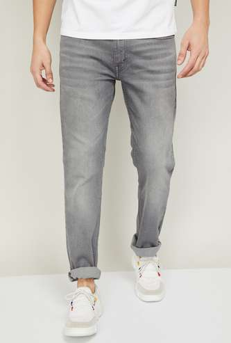 LEVI'S Men Stonewashed Faded Slim Tapered jeans
