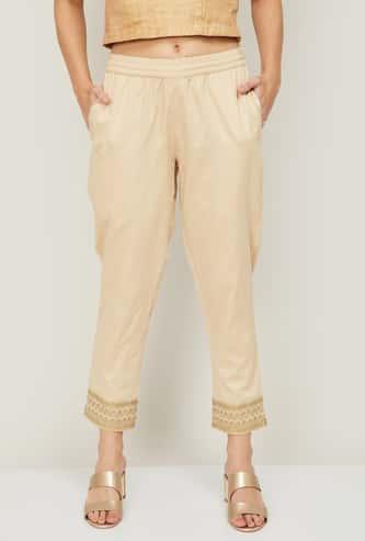 MELANGE Women Printed Elasticated Waist Straight Pants
