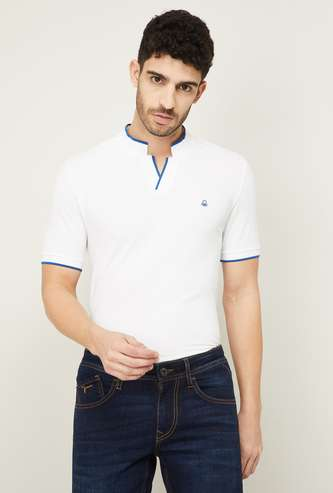UNITED COLORS OF BENETTON Men Solid Stand Collar T-shirt