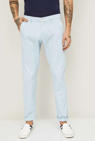 ALLEN SOLLY Men Textured Casual Trousers