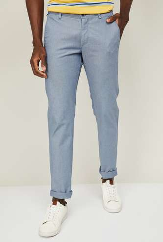 ALLEN SOLLY Men Textured Slim Straight Fit Casual Trousers