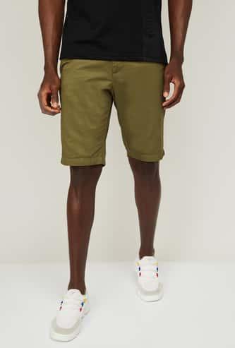 ALLEN SOLLY Men Solid Slim Fit Shorts