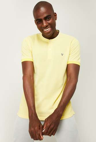 ALLEN SOLLY Men Solid Regular Fit Collared T-shirt