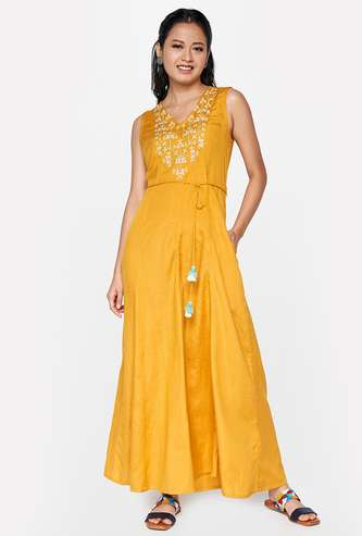 GLOBAL DESI Women Embroidered Flared Jumpsuit