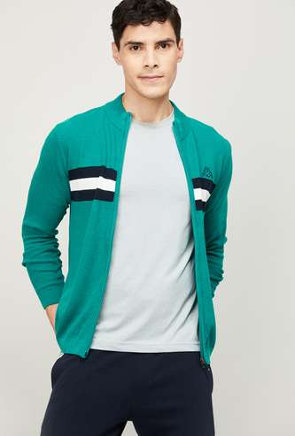 KAPPA Men Colourblocked Open-Front Sweater