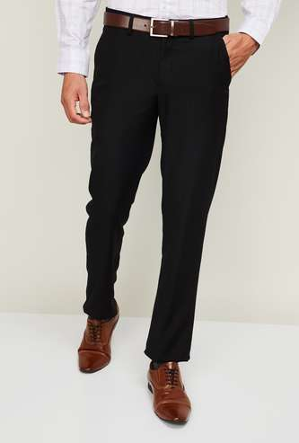 LOUIS PHILIPPE Men Solid Slim Tapered Formal Trousers