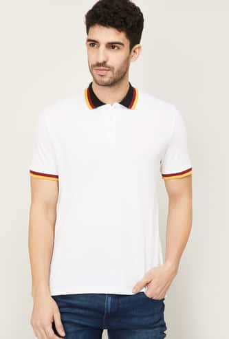 CELIO Men Solid Polo T-shirt
