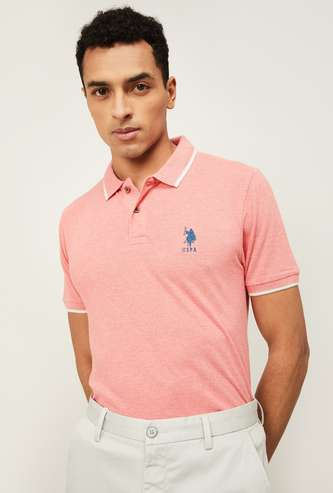 U.S. POLO ASSN. Men Solid Slim Fit Polo T-shirt