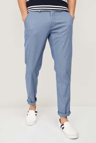 LP SPORT Men Textured Super Slim Casual Trousers