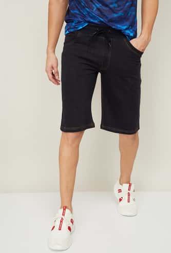 PROLINE Men Solid Denim Casual Shorts