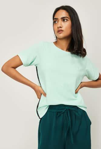 ALLEN SOLLY Women Solid Round Neck T-shirt