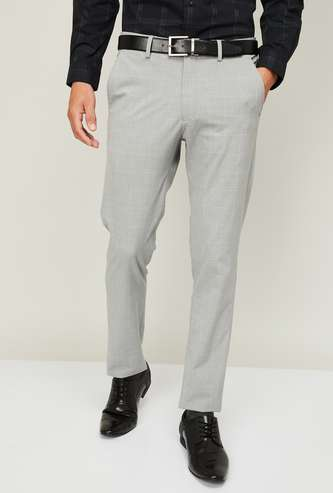 LOUIS PHILIPPE Men Checked Super Slim Fit Formal Trousers