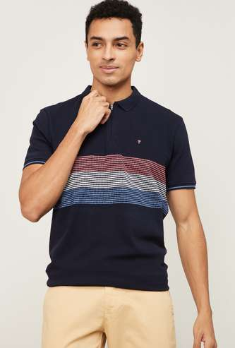 LP SPORT Men Striped Regular Fit Polo T-shirt