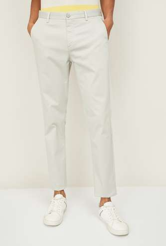 U.S. POLO ASSN. Men Solid Flat Front Casual Trousers