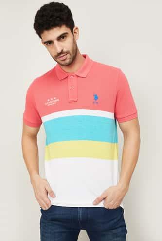 U.S. POLO ASSN. Men Colourblocked Polo Neck T-shirt
