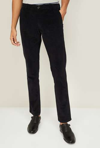 ARROW SPORT Men Solid Slim Straight Fit Corduroy Trousers