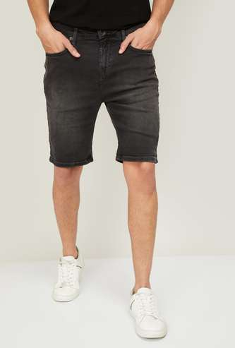 UNITED COLORS OF BENETTON Men Washed Slim Fit Woven Shorts